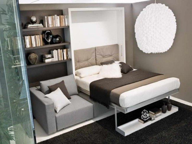 murphy bed in small living room home decor ideas couch - around the world