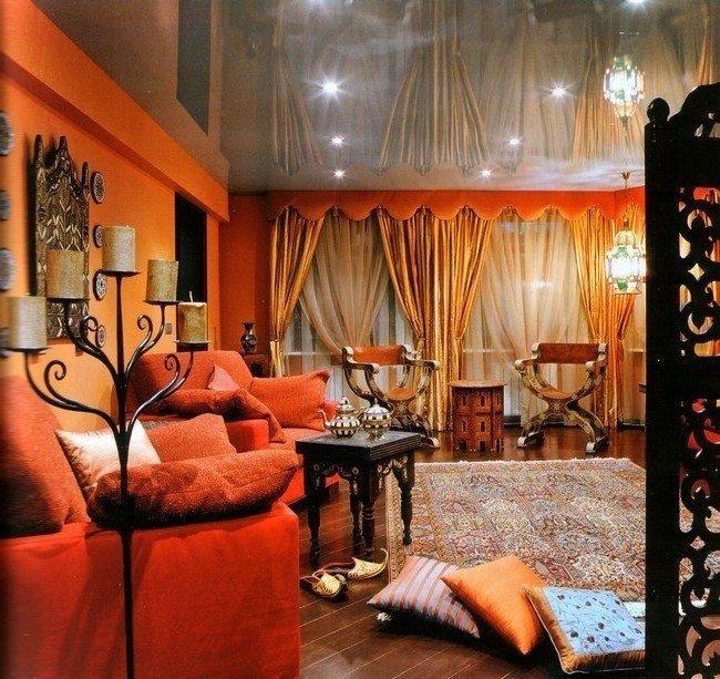 moroccan living room design dark brown furniture decor around the world patterned rug a designed