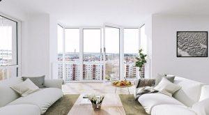 living scandinavian windows background apartment floor ceiling decor