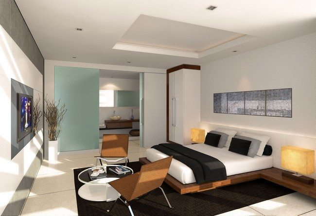 Outstanding Modern Apartment Bedroom Design With Nice Low Profile Bed And Wall Art Paintings