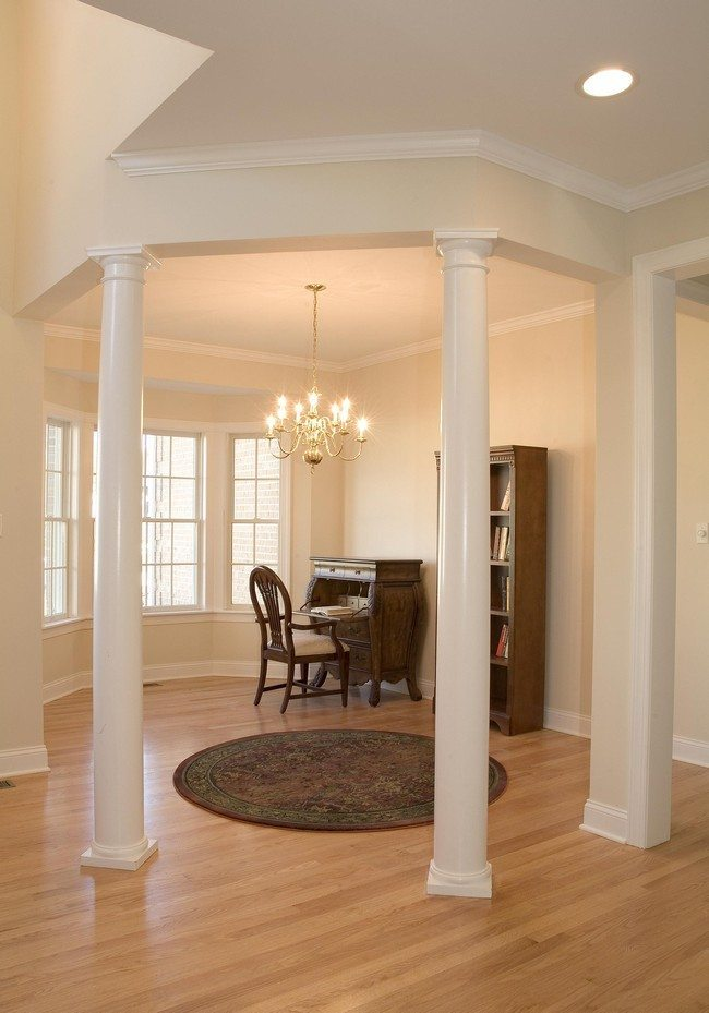 hanging lights kitchen paints how to use living room columns create rich details ...
