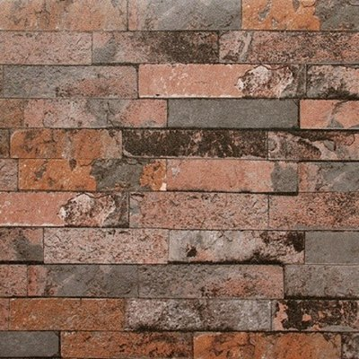 Burnt Orange Grey 3D Brick Wallpaper