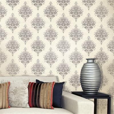 Grey And Cream Royal Damask 1550 Wallpaper Design