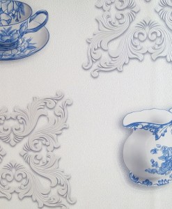 Blue and White Tea Cup and Vase Wallpaper Design DD0045 - Sold in Nigeria by DecorCity