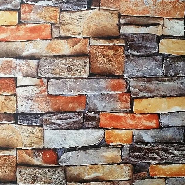 Modern Multi Color Washable 3D Brick Wallpaper Design