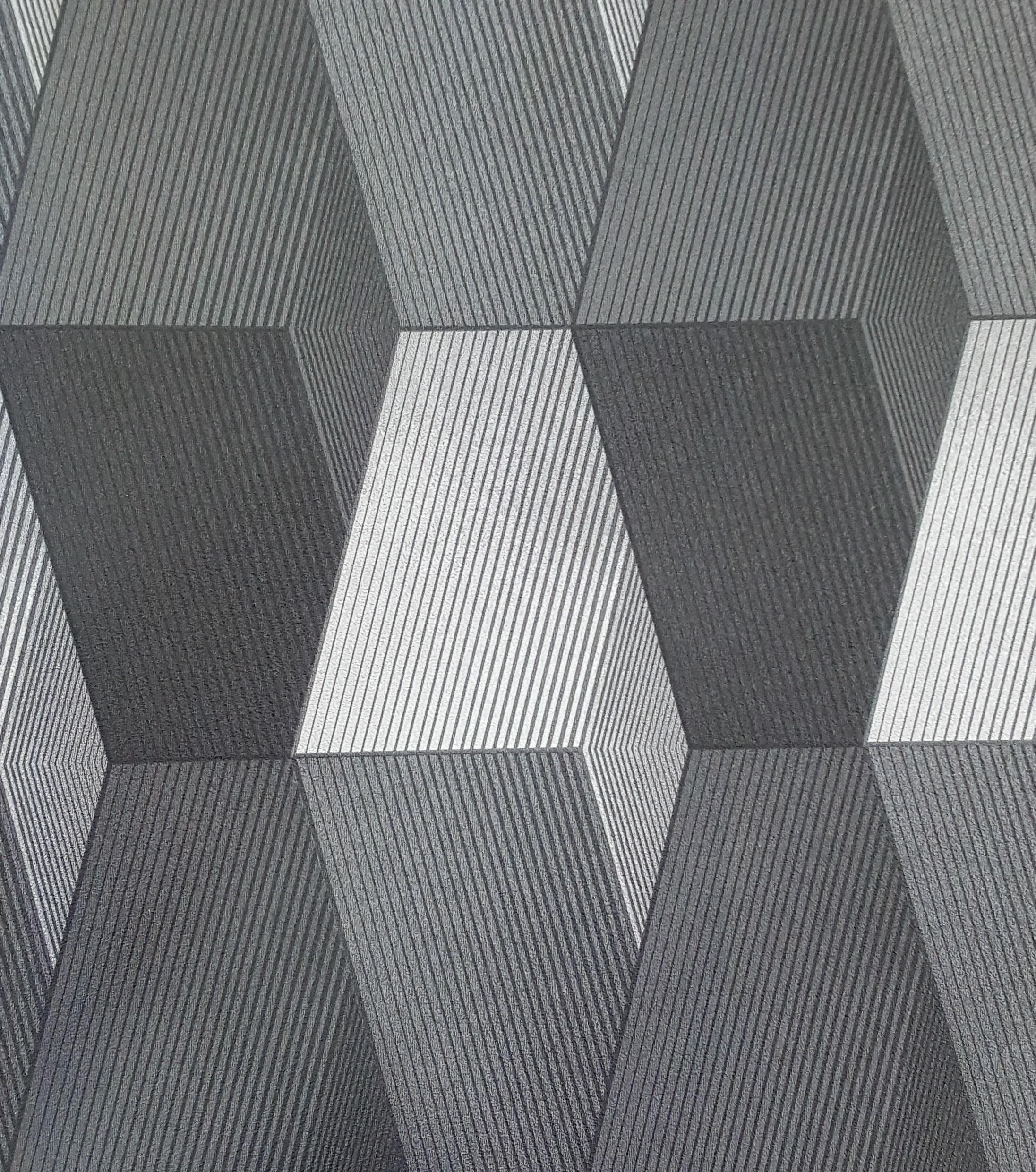 Light And Dark Grey Modern 3d Patterned Wallpaper X156 3033