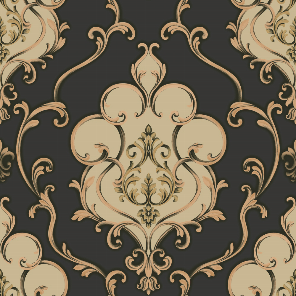 Gold And Black Damask Wallpaper A28 22p30 Decor City