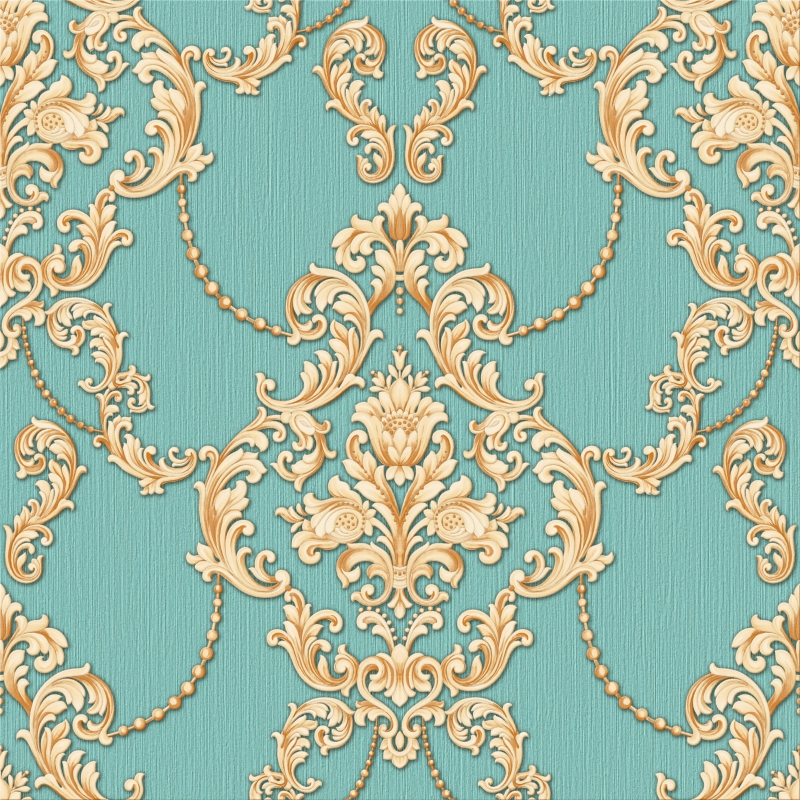 Gold And Light Turquoise Green Damask Wallpaper A2 141p30