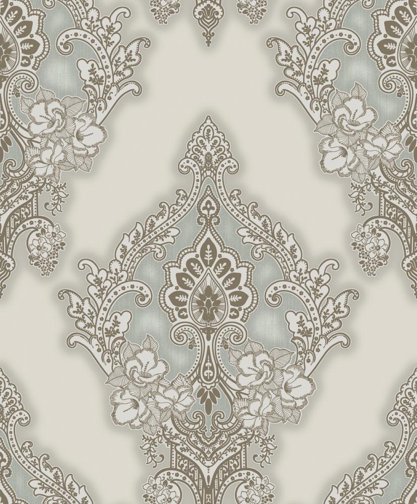 Silver Grey Damask Patterned Wallpaper A8 34p09 Decor City