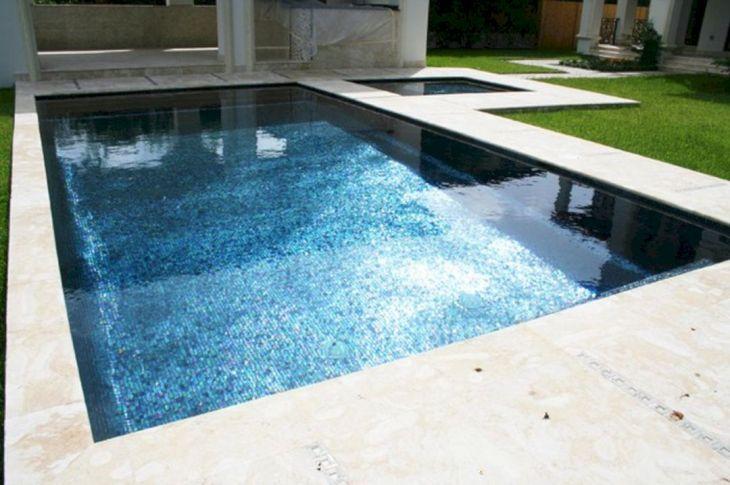 Black Iridescent Glass Pool Tile