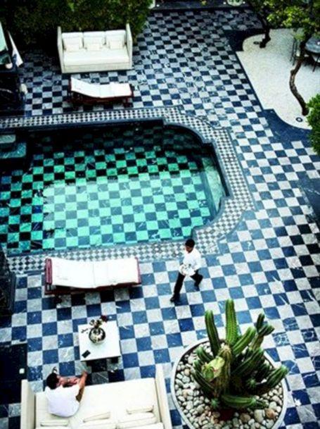 Black and White Pool Tile