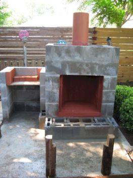 Cinder Block Outdoor Fireplace Design