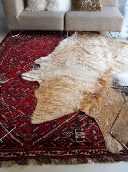 Layering Cowhides Rugs