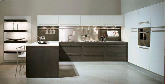 White and Dark Wood Kitchen Cabinets