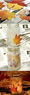 DIY Mason Jar Candle Holders Fall Leaves
