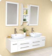 Modern White Double Sink Bathroom Vanities