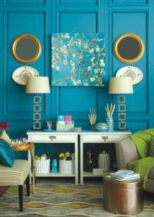 Bohemian Blue Green Living Room Walls