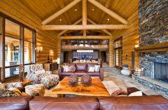 Luxury Living Room Log Cabin Homes