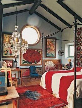 Red Eclectic Bedroom