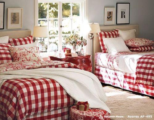 Christmas Red & White Bedroom