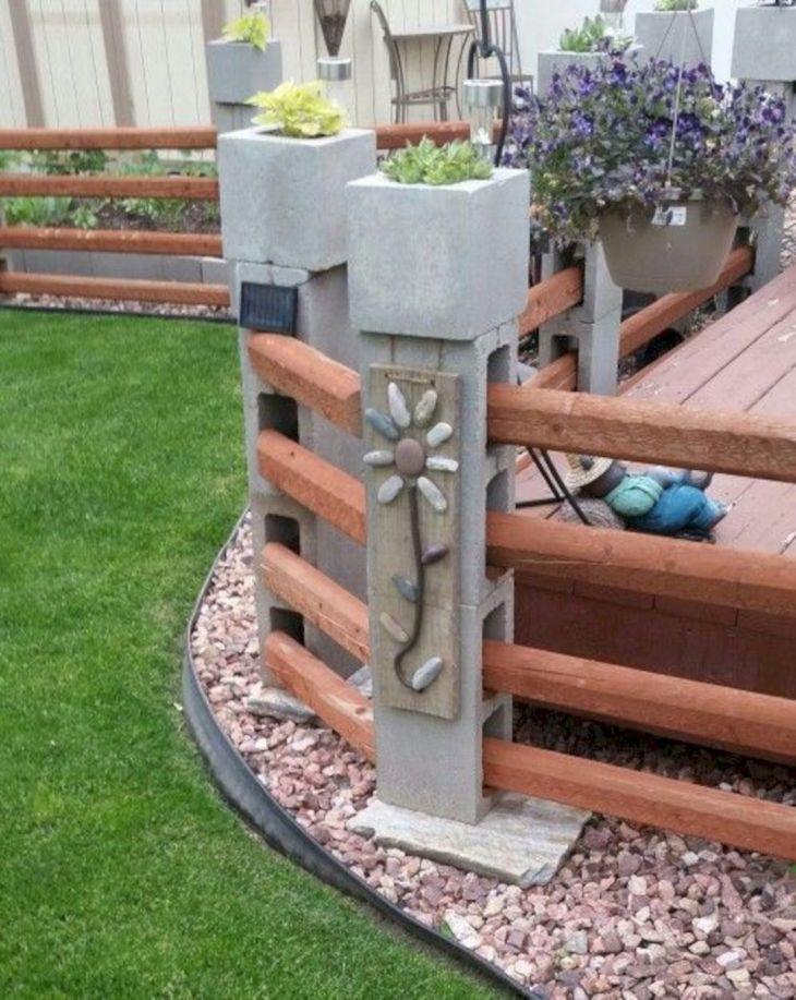 DIY Cinder Block Fence