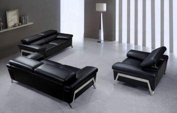 Modern Black Leather Sofa Set