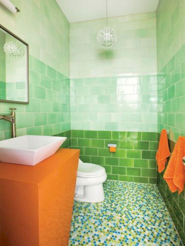 Multi Colored Floor Tile Bathroom