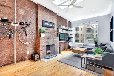 Living Room with Brick Veneer Wall