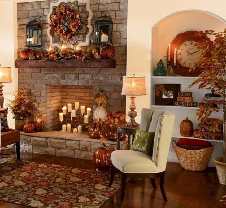 Living Room Fall Decor Ideas 36