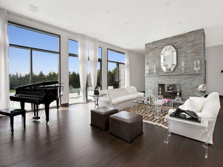 Living Room With Dark Wood Floors 90