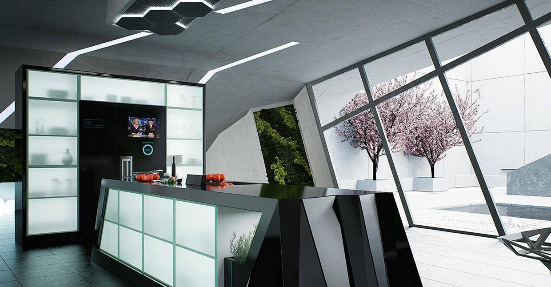 Futuristic Accents on a Minimalist Kitchen