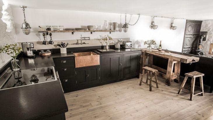 Interior Kitchen With Houndstooth Floor