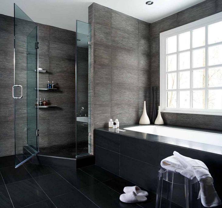 Black Wall Bathroom Design