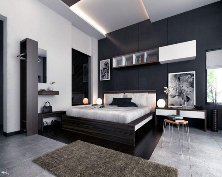 Modern Black Wall Bedroom