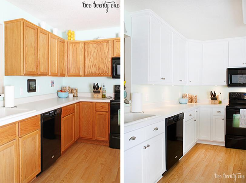 Painted Kitchen Cabinets Before And After 1