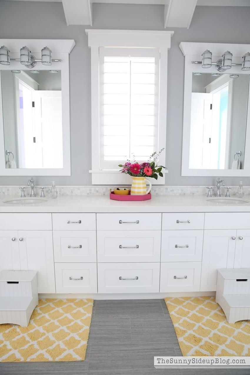Stunning Gray Bathrooms with Accent Color Ideas 20