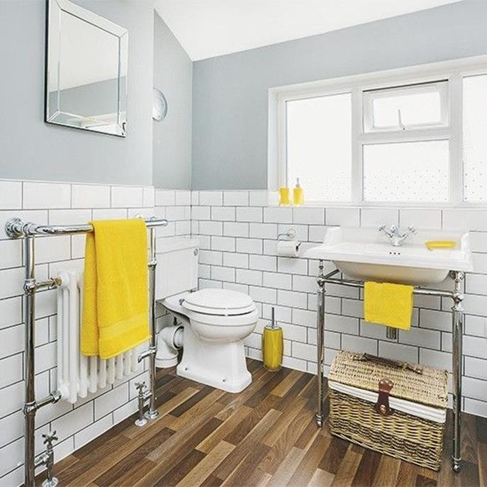 Stunning Gray Bathrooms with Accent Color Ideas 21