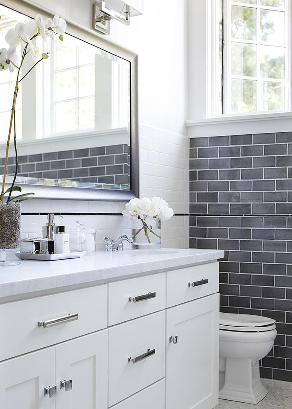 Stunning Gray Bathrooms with Accent Color Ideas 26
