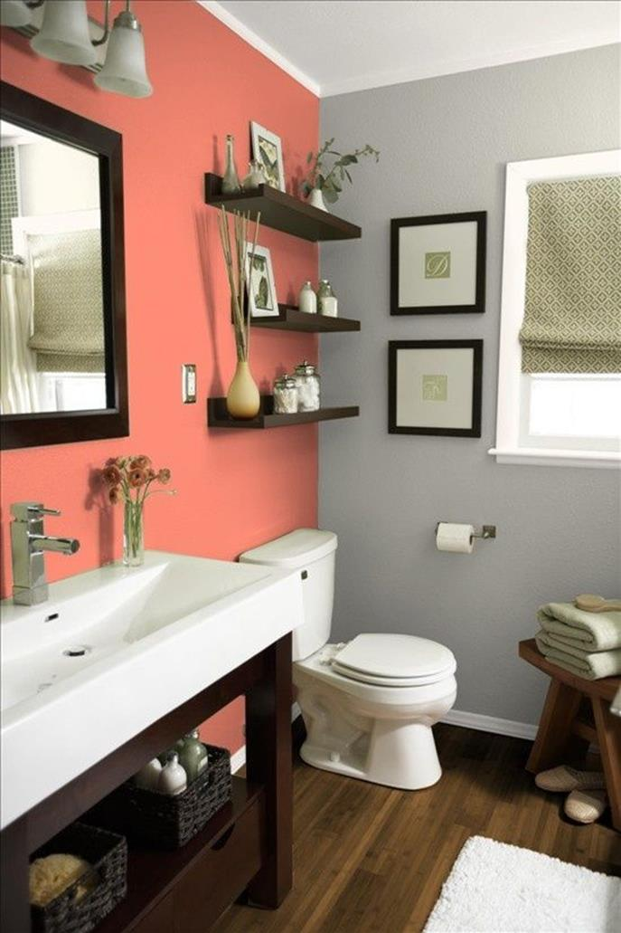 Stunning Gray Bathrooms with Accent Color Ideas 32