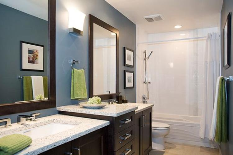 Stunning Gray Bathrooms with Accent Color Ideas 38