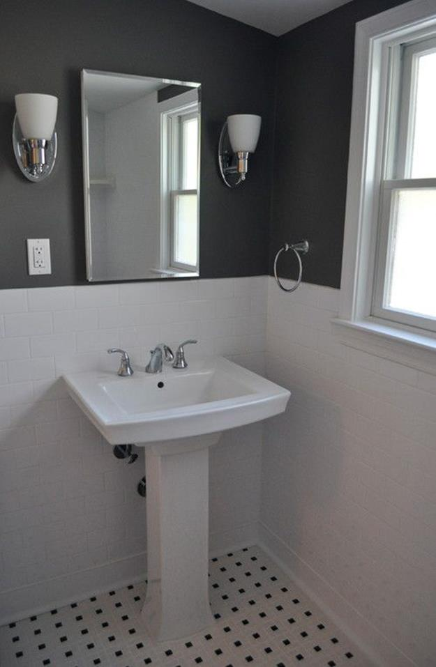 Stunning Gray Bathrooms with Accent Color Ideas 4