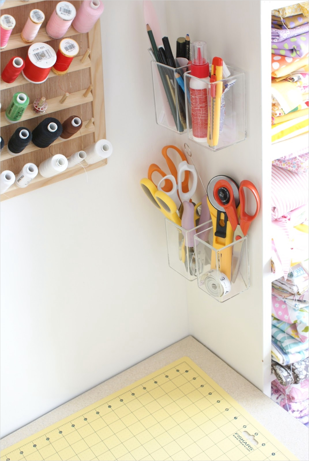 Craft Room Wall Shelving 53 Messyjesse A Quilt Blog by Jessie Fincham Craft Room Idea Wall Storage 1