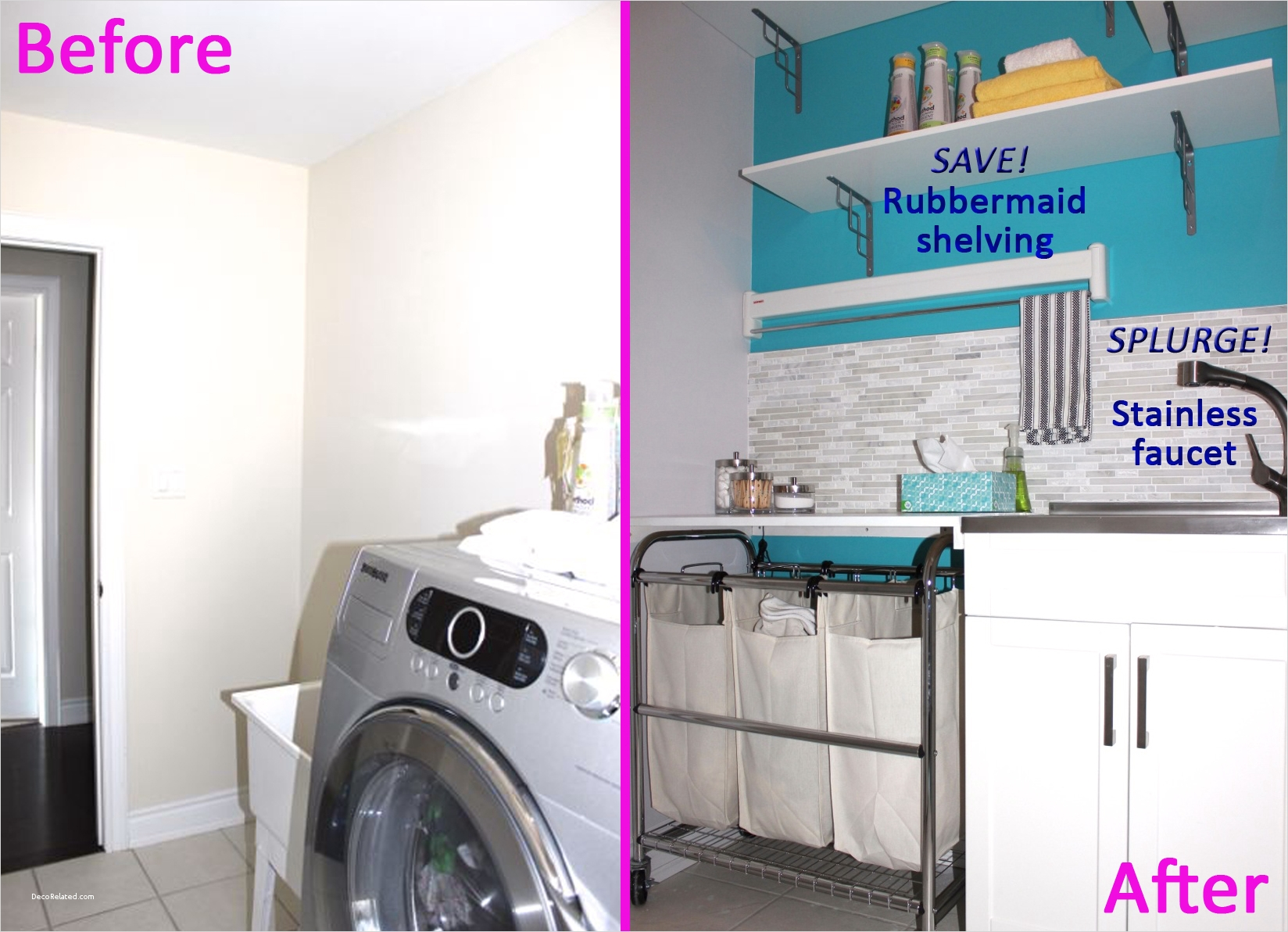 Laundry Room Wall Art Decor Layout 26 before and after Diy Makeover Laundry Room Design with Stone Wall Cladding Backsplash White and 9