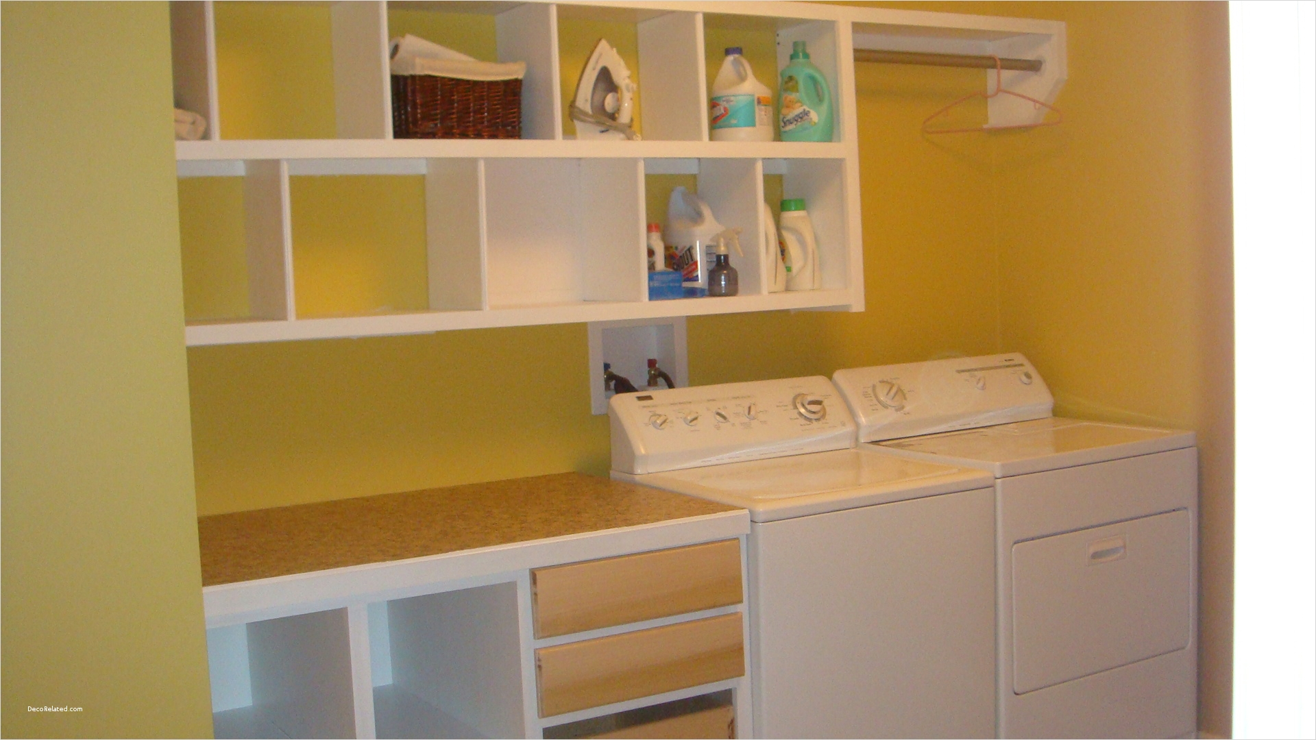 Laundry Room Wall Art Decor Layout 33 Very Small Basement Laundry Room Design with Yellow Wall Interior Color Paint Decor Bined 7