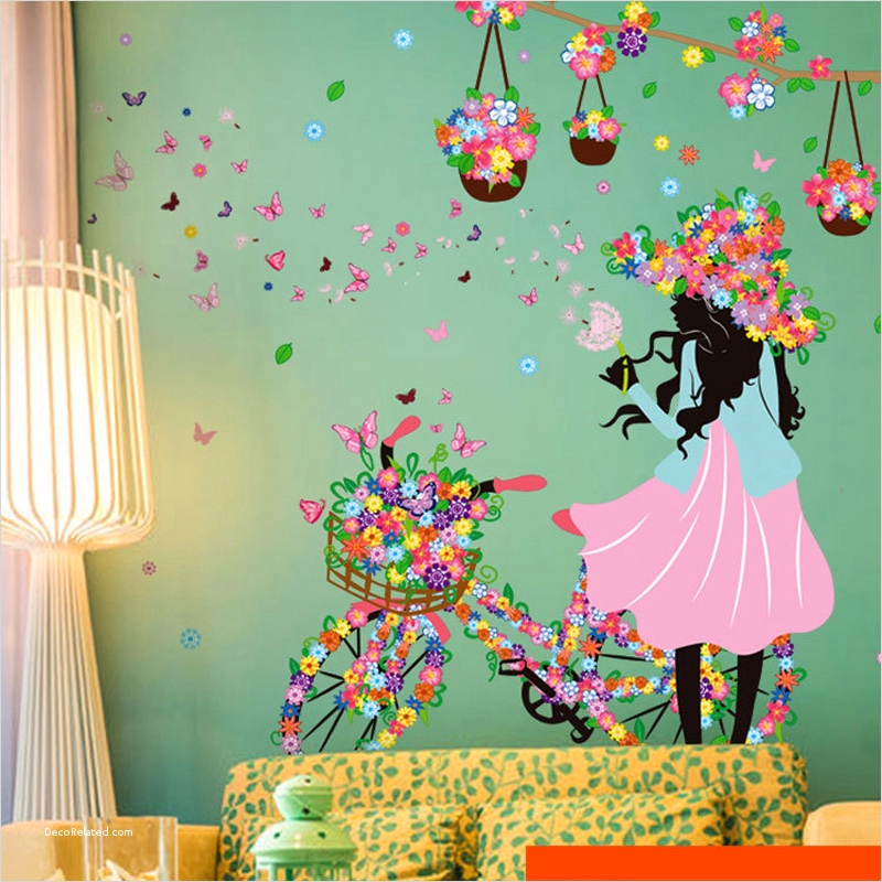 Spring Floral Bedroom Decor 34 Romantic butterfly Flower Wall Stickers Home Decor Cycling Girl Removable Decal Bedroom Living 6