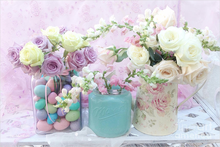 Spring Floral Bedroom Decor 35 Romantic Shabby Chic Pastel Pink Aqua White Roses Shabby Chic Spring Romantic Floral Art 3