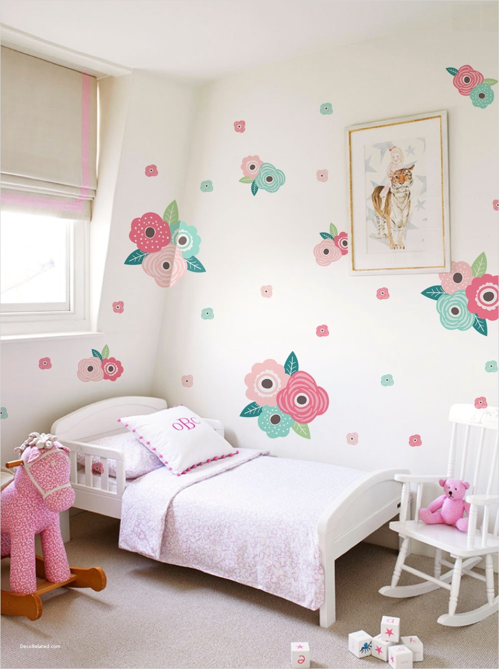 Spring Floral Bedroom Decor 87 Kids Flower Wall Sticker Spring Pink and Mint Blooms Peel and Stick Wall Stickers Kids Room Decor 2
