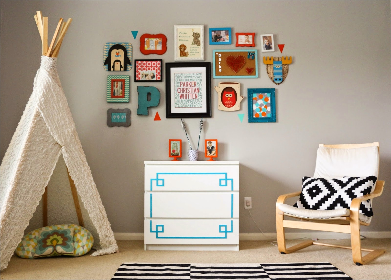 42 Amazing Diy Craft Room Gallery Wall 86 Gallery Wall Wednesday A Turquoise and orange Kids Room A Kailo Chic Life 9