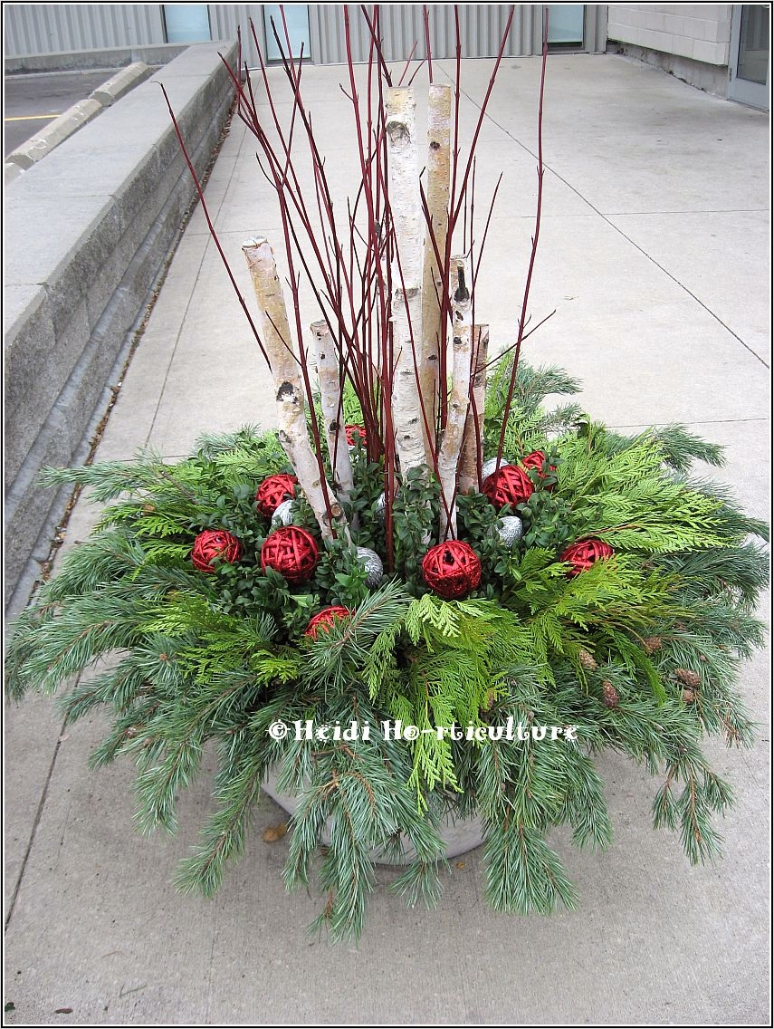 42 Beautiful Christmas Outdoor Pot Decorations Ideas 75 Heidi Horticulture Outdoor Christmas Container Planter 9