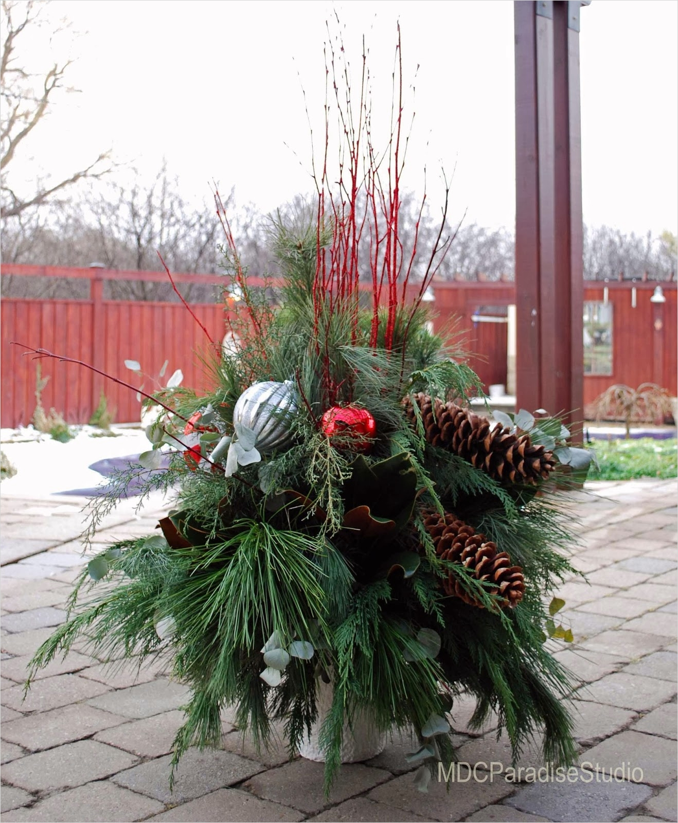 42 Beautiful Christmas Outdoor Pot Decorations Ideas 87 Paradise Floral Studio Decorating for the Holidays Outdoor Pots 6